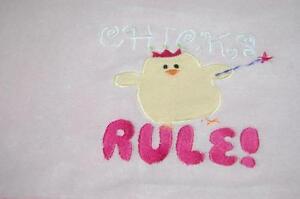Chicks Rule Blanket Pink Hot Pink Back Trim Soft Throw Teen Girl Toddler Baby