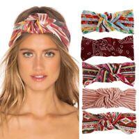Women Retro BOHO Cotton Bandana Hair Head Headband Wrap Cross Turban Headwrap