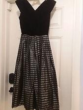 1950s vintage party dress black velvet gray stripe full skirt XS New Look