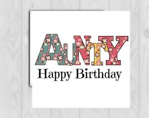 Aunty Birthday Card  cute glitter detail