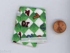 Miniature Dollhouse Blanket / Small Green w/ #s