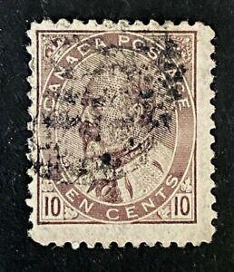"Canadian Stamp, Scott #93 10c King Edward VII 1903 ""used"". Brown lilac color"