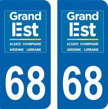 2 Stickers style immatriculation auto Département Grand-EST HAUT-RHIN 68