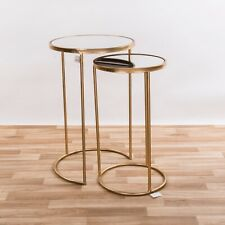 71dd1ddf802c4b GOLD METAL GLASS ROUND NEST SET OF 2 SIDE COFFEE LAMP END TABLES