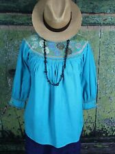 Sm Mexican Spring Blouse Turquoise Hand Embroidered Cotton Mayan Chiapas Peasant