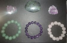 3 Pc Genuine Crystal Bracelet Set Green Aventurine Amethyst & Rose Quartz B2G1