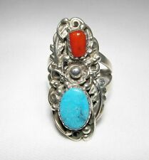 Estate Vintage Steroing Silver Signed Navajo Turquoise Coral Ring C1761