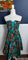 Girls from Savoy Anthropologie 100% Cotton Painted Ikat Green Dress Sz 6 Small S