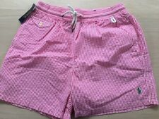 "POLO RALPH LAUREN TRAVELER SEERSUCKER 6"" SWIM TRUNK. PINK STRIPE MEDIUM, M. NWT"