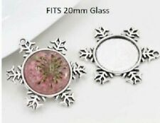3pcs Antique silver snowflake cabochon setting size fits 20mm round glass