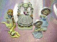 *SUPER RARE VTG Japan Lot of 5 - Girls & Bunny - Bell Figurines