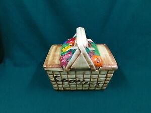 Vintage McCoy Picnic Basket with Fruit Cookie Jar ~ 1962
