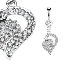 Paved Belly Ring Navel B186 Heart 2 Heart Fully Gem