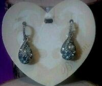 Brighton Trust Your Journey French Wire Earrings BLUE SILVER CRYSTALS NWOT POUCH