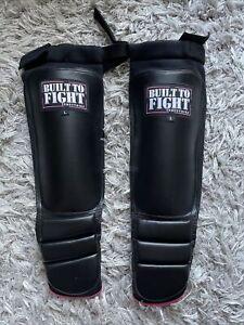BUILT TO FIGHT Large Shin Guards Black & Pink MMA Kickboxing Muay Thai Equipment