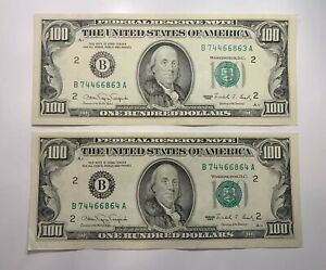 1990 District (B) Lot Of 2 Consecutive $100 Federal Reserve Notes, ...863/864