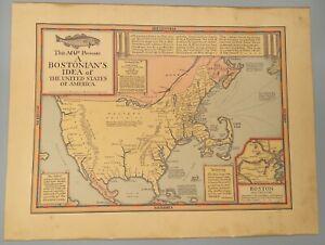RARE Original A Bostonian's Idea of the United States of America Map Wallingford