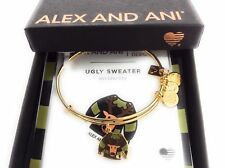 Alex and Ani UGLY SWEATER Bangle Bracelet Siny Gold New Box Tag Card