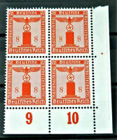 W.W.2 ORIGINAL GERMAN BLOCK OF 4 OFFICIAL STAMPS WITH MARG.8 RF MNH