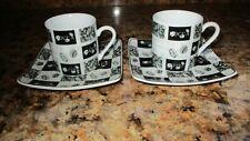 FINECASA China Espresso Coffee Cup & Saucer Set x 2