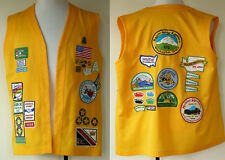 Vintage Yellow RV Holiday Rambler Washington State Vest with Pins and Patches XL