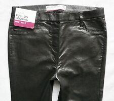 BNWT NEXT Leather look pull on jegging legging Silver glitter skinny R L XL TALL