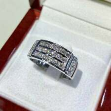 Men's Ring Engagement & Wedding 3 Row Ring 3 Ct Solitaire Diamond 14K White Gold