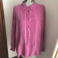 Elisabeth by Liz Claiborne Plus Size 16 100% Silk Button Down Shirt Pink  A2