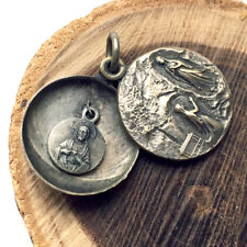 Ancienne Double Médaille de communion Baptême - Ouvrante - Religion Dévotion