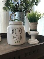 "NEW Rae Dunn St. Patricks Day LL ""POT O' GOLD"" Canister With Shamrocks"