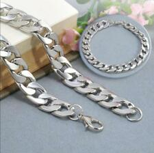 Silver Men's Stainless Steel Link Punk Chain Bracelet Wristband Bangle Jewelry