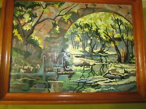 Vintage 1955 Paint by Number Painting, Scenic Stone Bridge, Pond & Florals, NICE