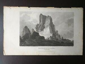 ANTIQUE ENGRAVING- ROACH ROCKS & CHAPEL, CORNWALL-J.STORER, J. UNDERWOOD -1802