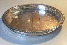 """Vintage WM Rogers Round Silverplate Reticulated 12"""" Gallery Tray 671"""
