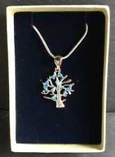 Blue Fire Opal 925 Silver Plated Tree Of Knowledge/Life Pendant Chain Gift Boxed
