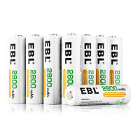 8x EBL 2800mAh AA NI-MH Rechargeable Batteries 1.2V For Camera Toy + 2 Case Box