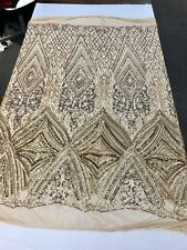 GOLD SEQUIN DIAMOND DESIGN EMBROIDERY ON A 4 WAY STRETCH MESH-SOLD BY YARD.