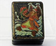 Boîte à bijoux collection décor 5x4 miniature laquée PALEKH peint à main signé