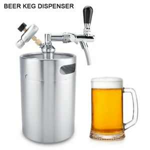 5L Stainless Steel Beer Keg with Faucet Home Brewing Craft Beer Dispenser Set