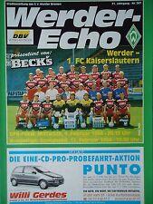Programm 1993/94 SV Werder Bremen - Kaiserslautern (BL + Pokal)