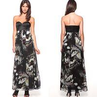 Karen Millen Butterfly Print Maxi Dress Black Corset Silk Long Size 8-14 Evening