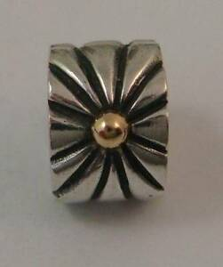 Genuine Pandora Silver 14Kt Gold Sunburst Firework Clip 790216 Rare Hard to Find