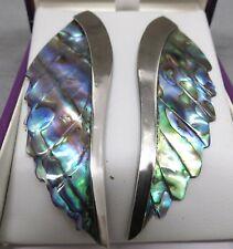 Abalone Shell Angel Wings with silvertone trim, stud fastener   Beautiful abalon