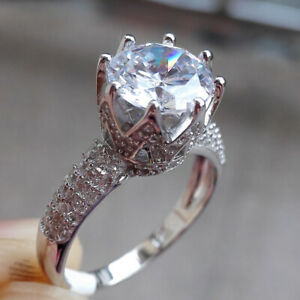 Wedding Engagement Ring For Women 2ct Round White Cz 925 Sterling Silver Size 5