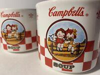 Set Of 2 Campbell's Soup Cups - Houston Harvest - 2000 - Campbells Kids on Fence