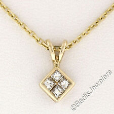 Solid 14K Yellow Gold .24ctw 4 Princess Cut Diamond Solitaire Pendant w/ Chain
