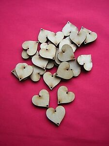 2.5cm  / 25mm MDF HEART  (2 holes in each)  x 50 LASER CUT WOODEN SHAPE