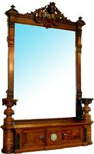 Magnificent Antique Oversized Inlaid Pier Mirror with Side Pedestals #6771