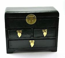 Vintage Chinese Jewelry Keepsake Treasure Box Leather Surface Drawer Green