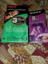 3 pack RCA blank vhs tapes, 1 Sony 8 hour all 4 tapes are new and sealed